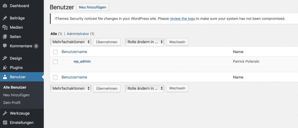 Bildschirmfoto WordPress Benutzerrollen