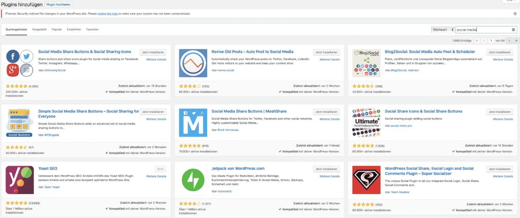 Bildschirmfoto von WordPress Plugins