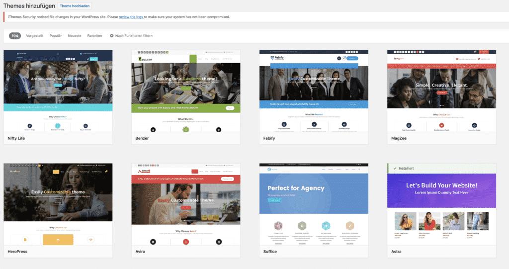 Bildschirmfoto von WordPress Themes