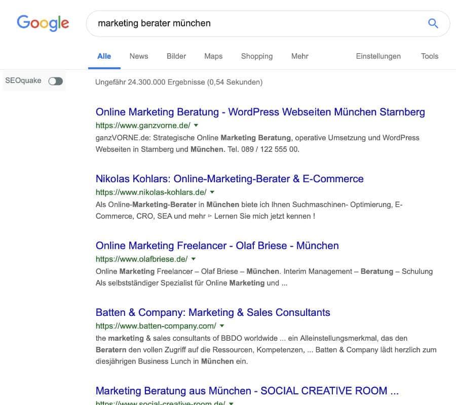 """Bildschirmfoto von der Google-Suche nach """"marketing berater münchen"""""""