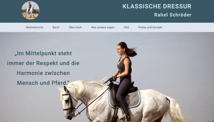 Rahel Schröder Klassische Dressur - ganzVORNE Kunden - Online Marketing Beratung und Webseiten München und Starnberg
