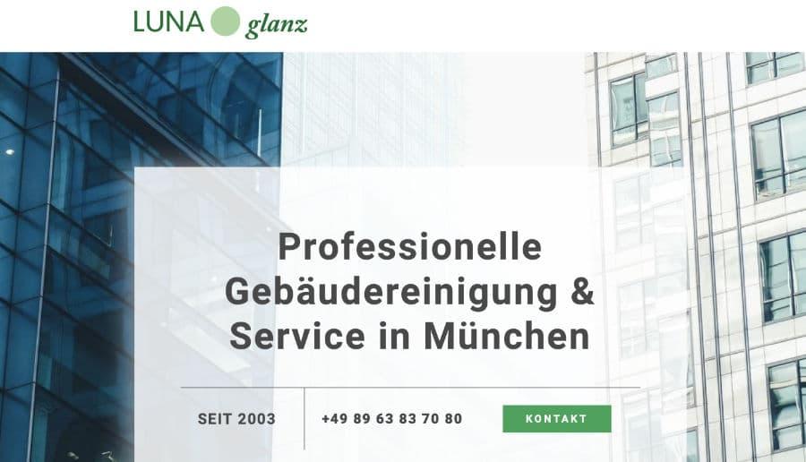 Luna Glanz Gebäudereinigung - ganzVORNE Kunden - Online Marketing Beratung und Webseiten München und Starnberg