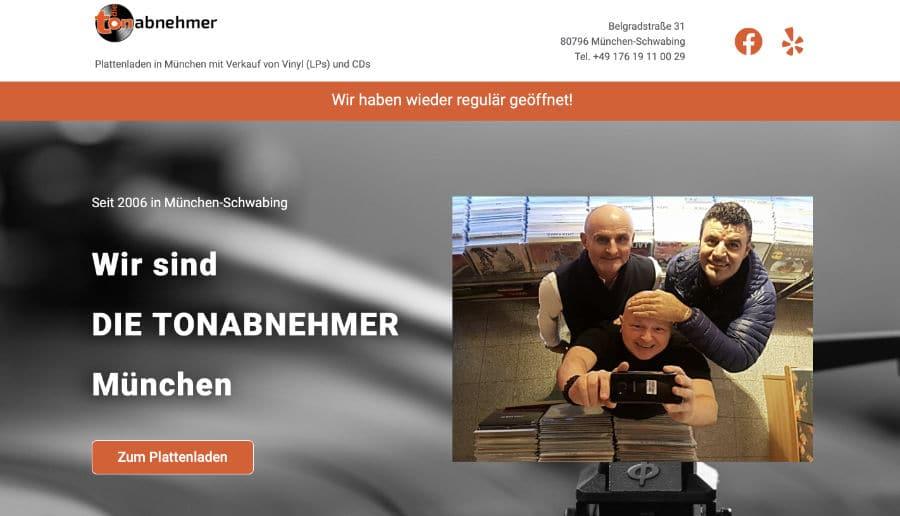 Die Tonabnehmer Plattenladen München - ganzVORNE Kunden - Online Marketing Beratung und Webseiten München und Starnberg