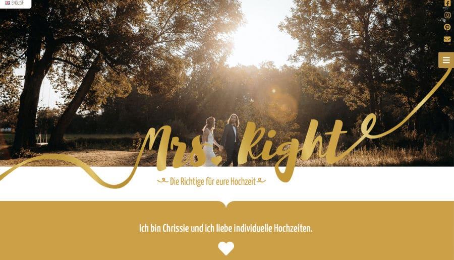 Mrs. Right Hochzeitsplanung - ganzVORNE Kunden - Online Marketing Beratung und Webseiten München und Starnberg