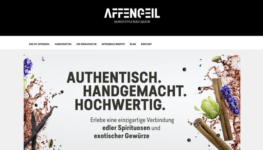 Affengeil Liqeur - ganzVORNE Kunden - Online Marketing Beratung und Webseiten München und Starnberg