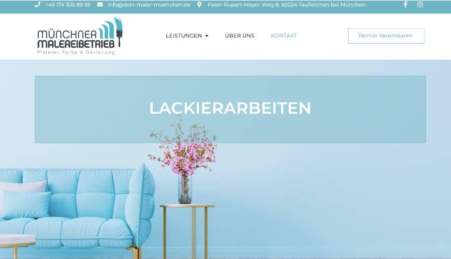 Münchner Malereibetrieb - ganzVORNE Kunden - Online Marketing Beratung und Webseiten München und Starnberg