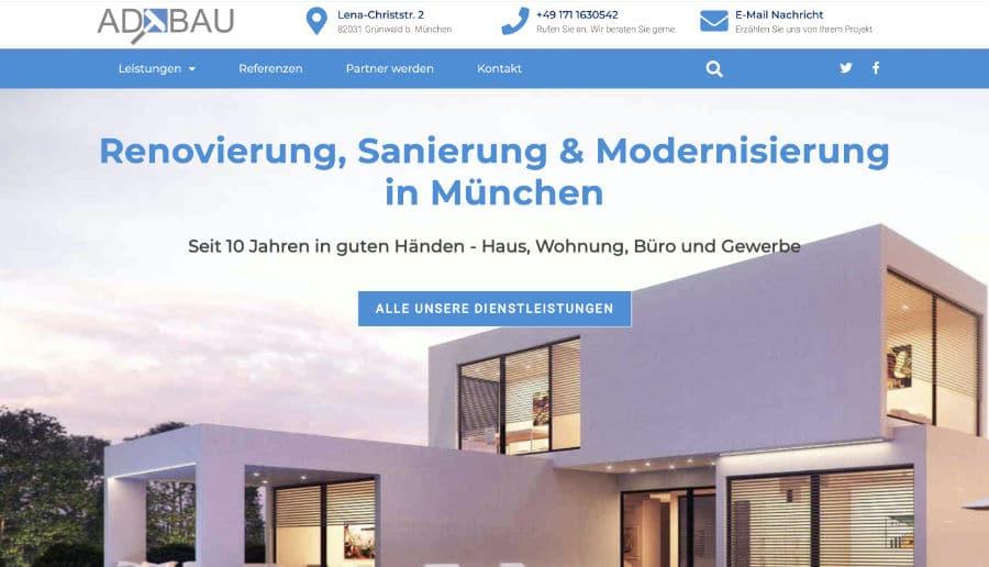 AD-BAU - ganzVORNE Kunden - Online Marketing Beratung und Webseiten München und Starnberg