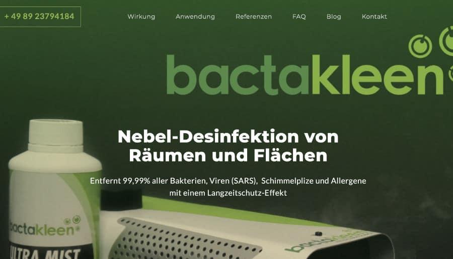 Bactakleen Nebeldesinfektion - ganzVORNE Kunden - Online Marketing Beratung und Webseiten München und Starnberg