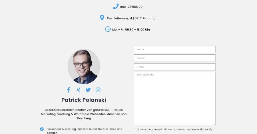Landingpage Kontakt-Formular Online Marketing Beratung - ganzVORNE München